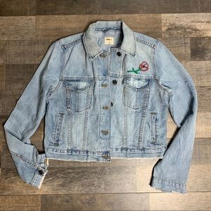GAP Denim Jean Jacket with Rose Embroidery